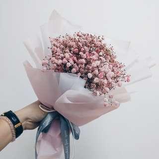 Pastel pink baby breath bouquet
