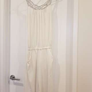 white sequenced jumpsuit