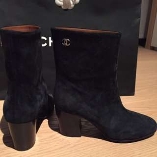 Chanel 2016 Suede Calfskin Mid Calf Black Boots