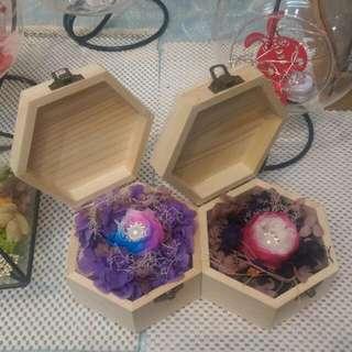 蜂巢六角形木頭盒