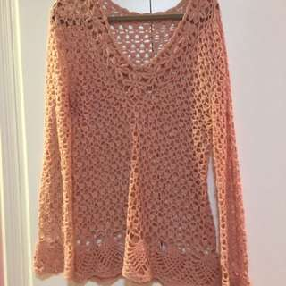 Vintage Soft Pink Knitted Sweater