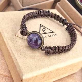 Amethyst Bracelet紫水晶蠟繩編織手鏈