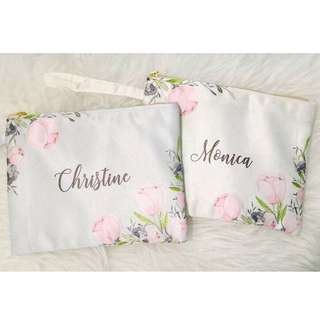 PERSONALISED SATIN FLORAL POUCH BAG