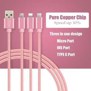 3 in 1 Cable (Lightning 8-pin / Micro USB / Type C)