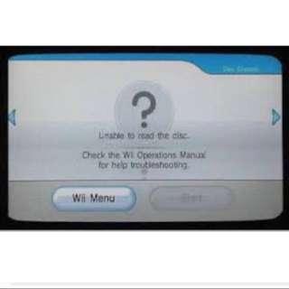 Wii Error 003/can't read disc/black screen