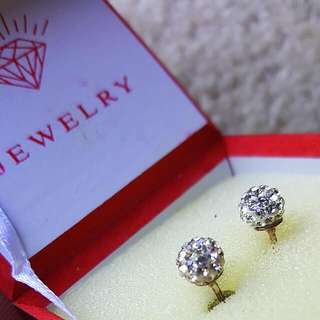 Womens Gorgeous Crystal Silver Earrings Balls In Box