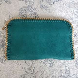 Turquoise Large Envelope Clutch with Gold Trim