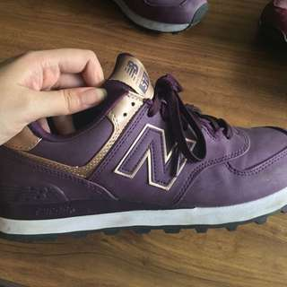 New Balance 574 Violet and Gold