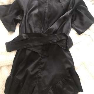 Black silk playsuit