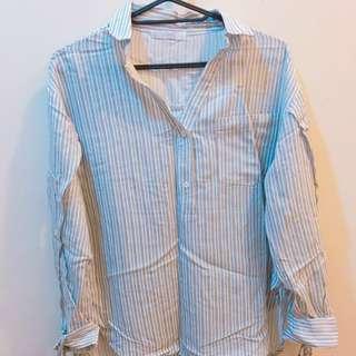 淺藍灰直條破口綁帶襯衫
