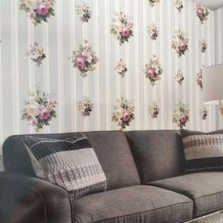 Wallpaper dinding korea motif bunga