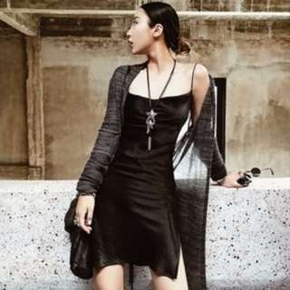 L現貨* VM新款韓版中長款黑色性感背帶連身裙