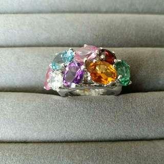 925純銀鍍白金天然彩寶戒指