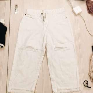 白色破褲 寬褲