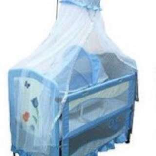 Sweet Cherry Baby Cot Set ( BABY BLUE COLOUR)