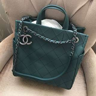 Chanel 9.5成新 肩背+手提兩用購物包(深綠)