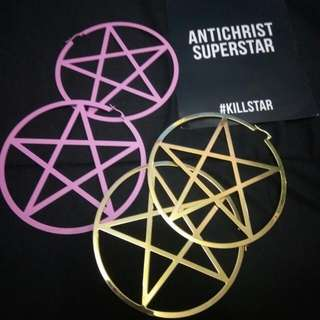 Pentagram Hoop Earrings ( Large )