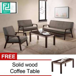 FURNITURE DIRECT PARKER 1+2+3 SOFA SET WITH FREE COFFEE TABLE- LIGHT GREY