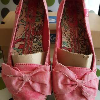 PL Authentic Keds Faded Pink Denim shoes wif a bow