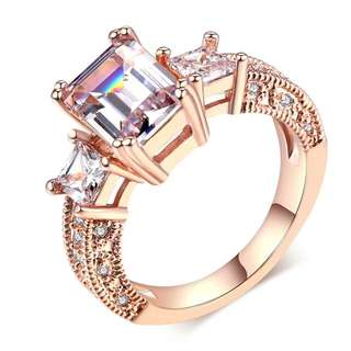 Square Cubic Zirconia Wedding Silver Color Ring