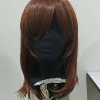 (Free PosLaju) Cherry Reddish Brown Medium Length Wig