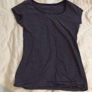 NET海軍藍深藍色條紋T-shirt/T恤
