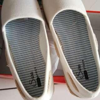 White rami slip on shoes