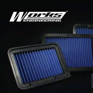 Works Engineering Products Air Filter Oil Cap Grounding Cable Oil Filter Proton Perodua Honda Toyota Nissan