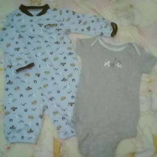 Carter's brand onesie and frogsuit 3-6 mos