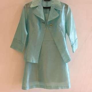 湖水綠 青綠色 女版 套裝 西裝外套 無袖洋裝 小禮服 小洋裝 裙子