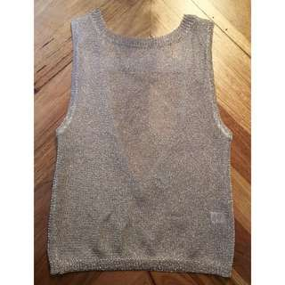 T by Bettina Liano champagne shimmer mesh top, size XS