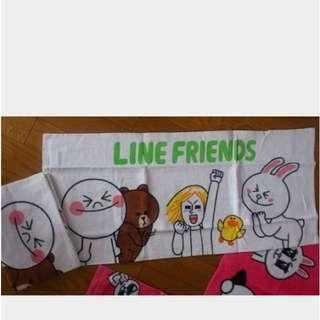 Line Friends 白色長毛巾 brown cony Sally moon James