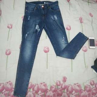 Ripped Blue Skinny Jeans Jegging