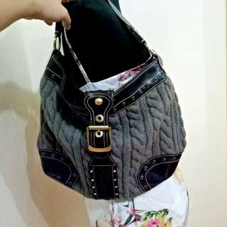 Knit and leather bag