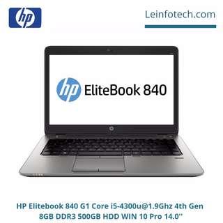HP Elitebook 840 G1 Laptop 14'' Core i5-4300U@1.9Ghz 4th Gen 4GB RAM 500GB HDD Win 10 Pro Warranty Wifi Bluetooth