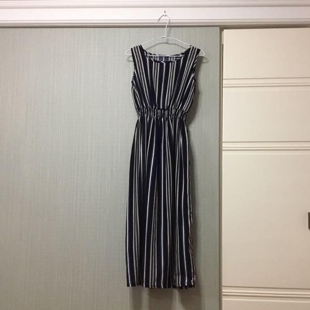 條紋長洋裝