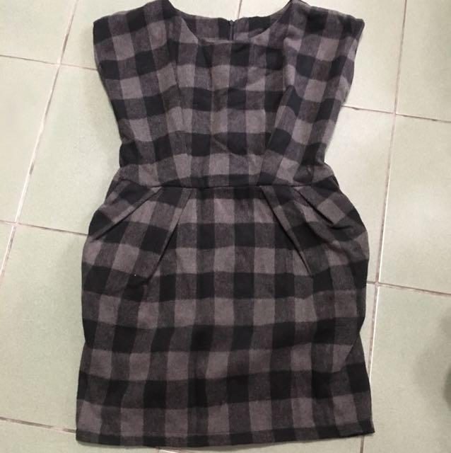 復古奧黛麗赫本風毛尼黑灰蘇格蘭棋盤格洋裝
