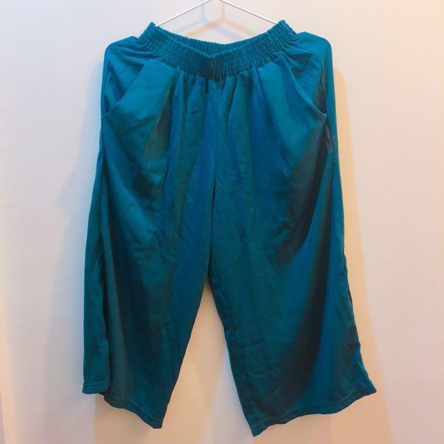 藍綠色雪紡寬褲
