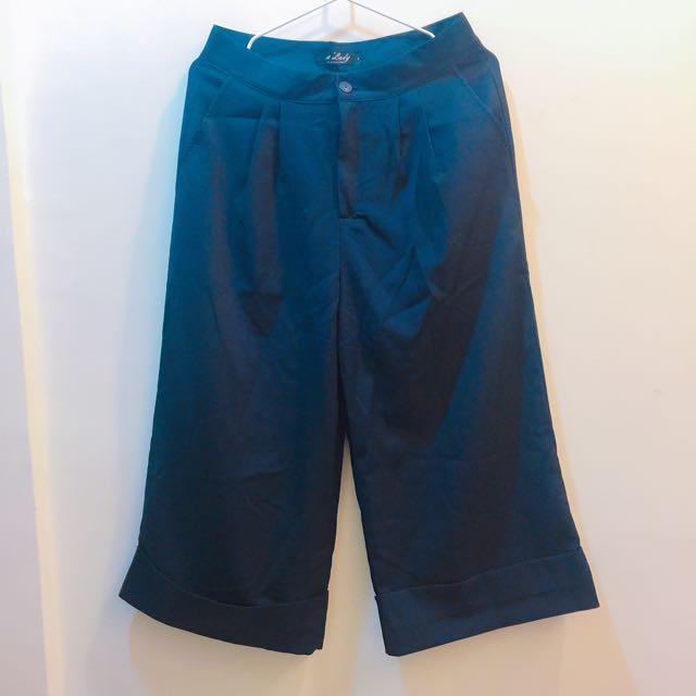 深藍褲管反折寬褲