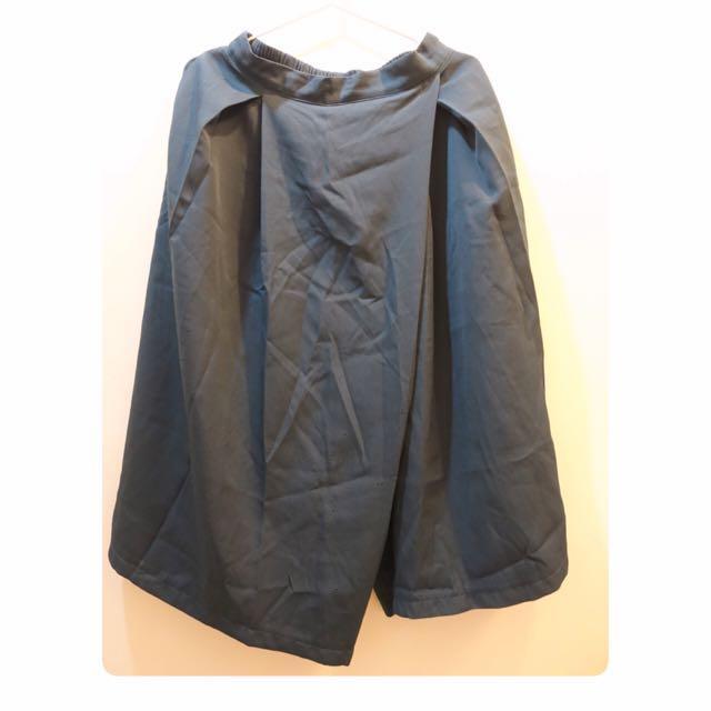 墨綠棉質交錯設計寬褲