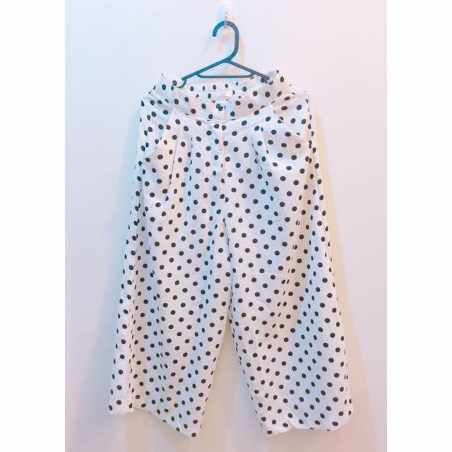 白點黑點點直筒寬褲