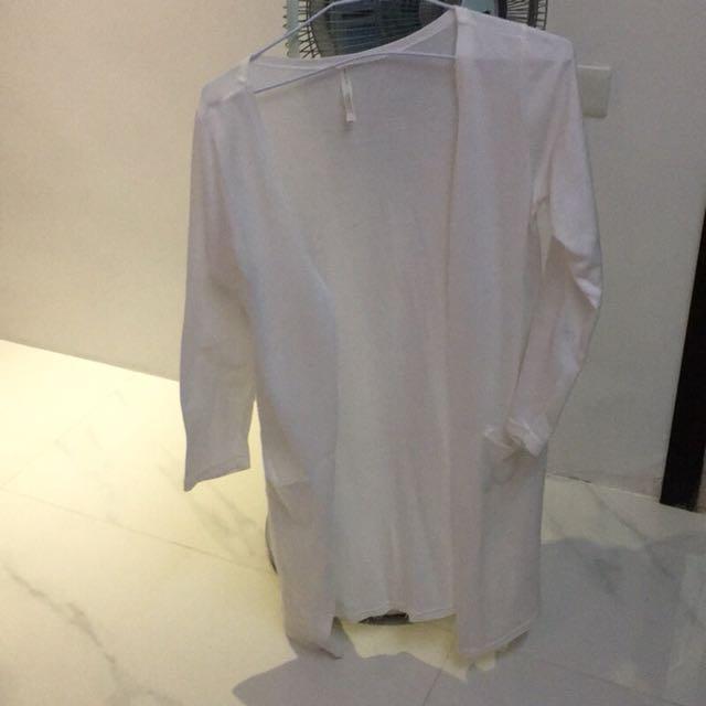 白色長版仙女長袖薄外套/罩衫