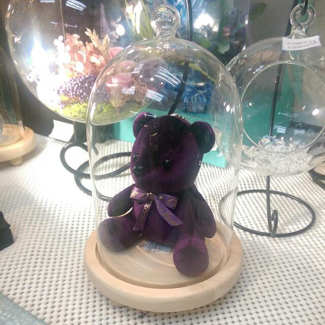 藝術擺飾 美女與野獸 玻璃鐘型木底 花器 大型