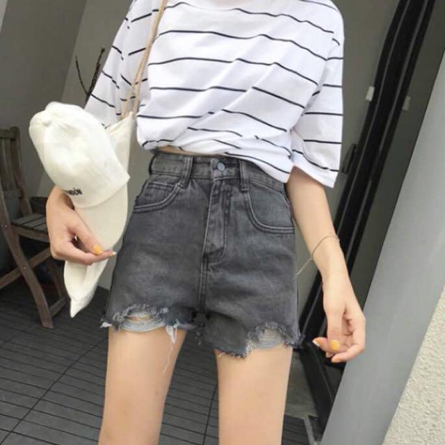 黑色短褲 牛仔褲 L
