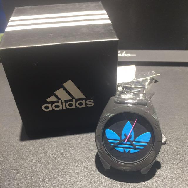 愛迪達adidas三葉草橡膠大錶面手錶[黑色藍色]