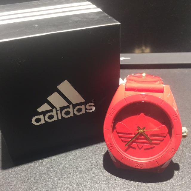 愛迪達adidas三葉草橡膠大錶面手錶[紅色]