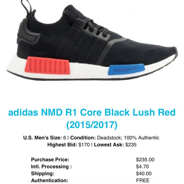 huge selection of 6c4a6 93cec Adidas NMD R1 Core Black Lush Red (20152017), Mens Fashion, Footwear on  Carousell