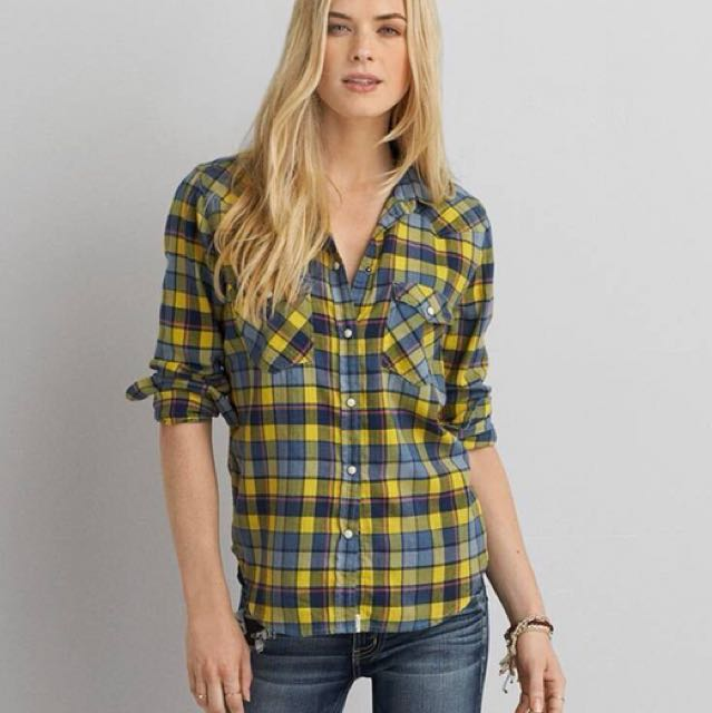 AMERICAN EAGLE PLAID BOYFRIEND SHIRT
