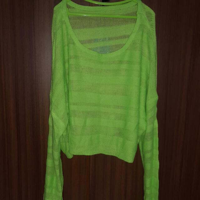 Atasan Knit Hijau Neon