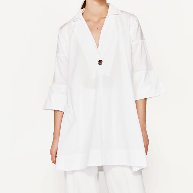 7f77d6c4bea Zara White Dropwaist Poplin Peplum Structured Shirt Dress Women S. Photo.  Authentic Zara Poplin Shirt Dress Women S Fashion Clothes Dresses
